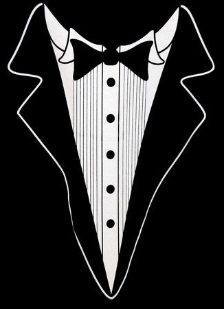 corbata negra: El dise�o del smoking en color negro. Foto de archivo