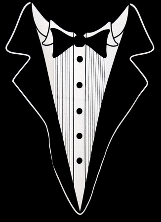 lapel: Tuxedo design on black.