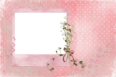 Lily of the valley bouquet on pink frame. photo