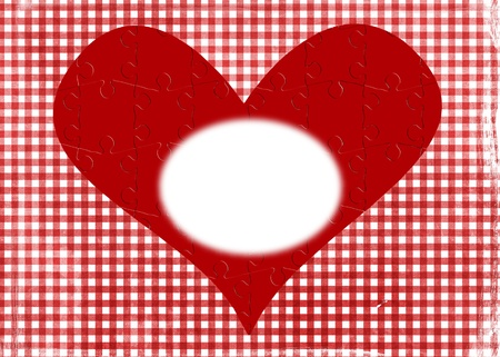 Jigsaw puzzle heart on gingham