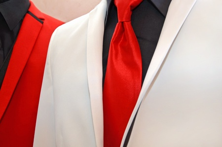 red tie accenting a white tuxedo Stock Photo - 12372008