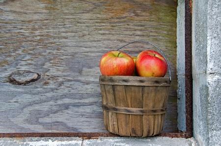 bushel: apples in old bushel basket Stock Photo