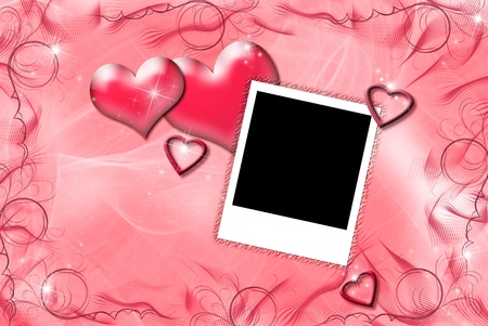 frame: Valentine hearts with photo frame  Stock Photo