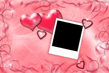 Valentine Herzen mit Bilderrahmen Standard-Bild - 12554021