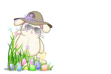 Easter bunny wearing sunglasses and hat  photo