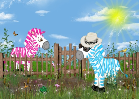 picket fence: Pink and blue zebras by a picket fence