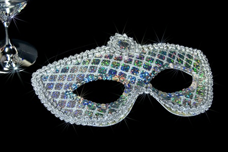 sequin: sparkling silver sequin mask
