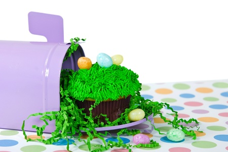 Easter cupcake with eggs in mailbox  photo