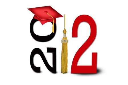 Gold tassel with red graduation cap for 2012  Stock Photo - 12948334