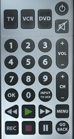 tv remote: Close up  of a TV remote control