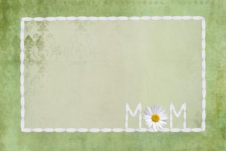 petal: daisy petal frame on textured green background Stock Photo