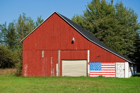 barn with patriotic flag photo