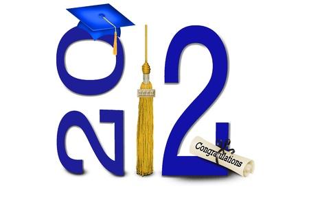 Blue graduation cap with gold tassel for 2012 Standard-Bild