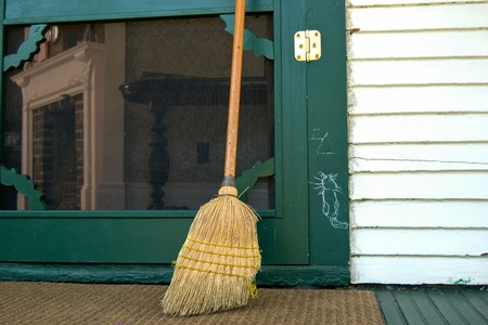 screen: Hobo sign with old broom on door  Stock Photo