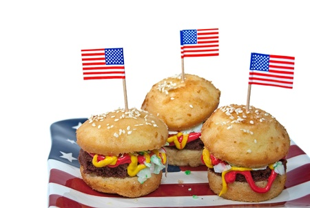 Hamburger cakes with American flag