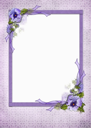 Fancy pansy frame on eyelet background