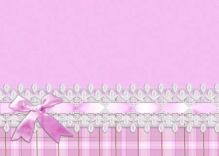 chequered ribbon: pink bow and lace border on plaid