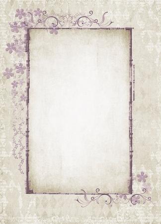 織り目加工の背景にヴィンテージの花のフレーム 写真素材