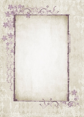 fancy border: Vintage floral frame on textured background