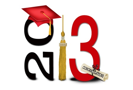 Red graduation cap and gold tassel for 2013 Stock Photo
