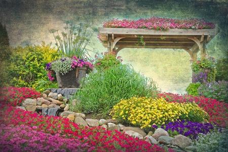 summer garden with grungy texture overlay