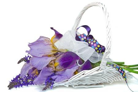 Iris flowers in white wicker gathering basket