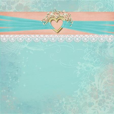 gold heart with bridal ribbon photo