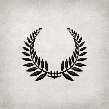 laurel leaf: elegant black laurel wreath on textured background Stock Photo