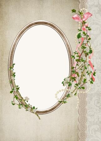 開花枝との楕円形の旧式なフレーム