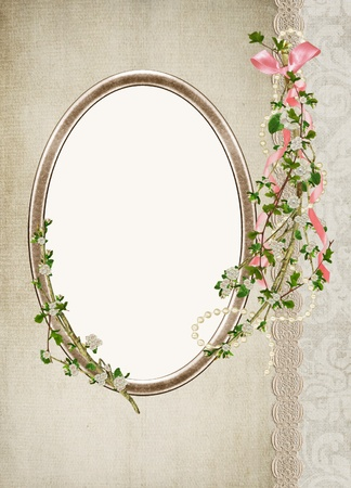 string of pearls: oval antique frame with flowering branch