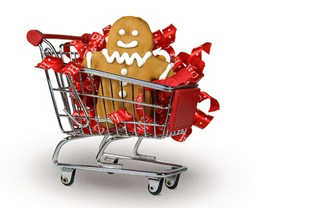 gingerbread cookie: Gingerbread cookie with ribbons in shopping cart