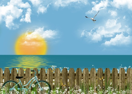 bicycle leaning on fence by the sea photo