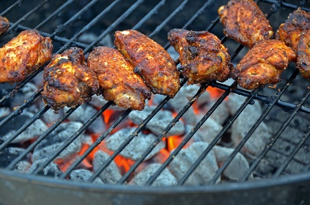 grilling chicken wings photo