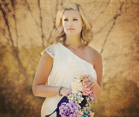 sundress: Bride to be with bow bouquet.
