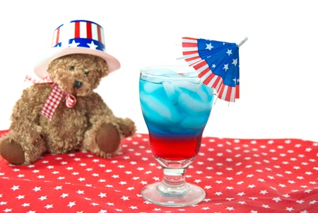 patriotic drink with teddy bear Stock Photo - 14255420