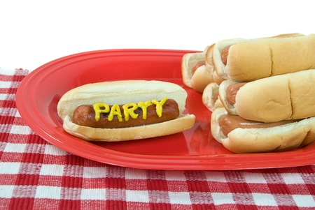 Party hot dogs on platter with checkered tablecloth  photo