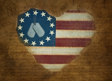 military dog tags on wooden flag heart