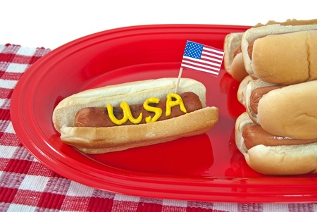 wiener dog: flag in party hot dog Stock Photo