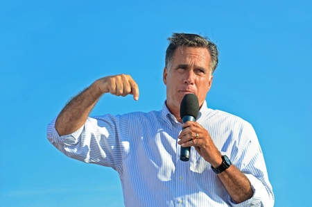 Holland, Michigan, USA - June 19, 2012 - Mitt Romney speaking at a campaign rally Stock Photo - 14564173