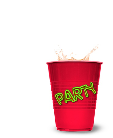 red party cup with splashed drink