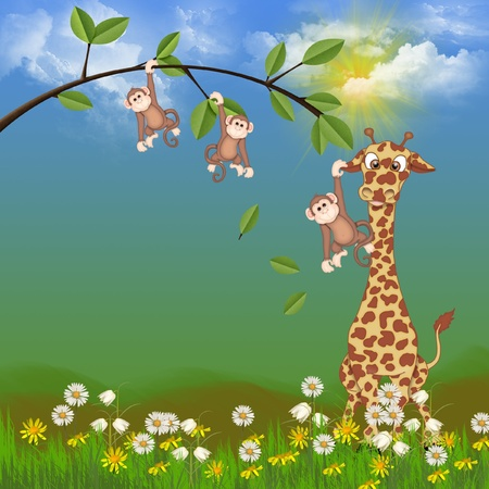 monkeys and giraffe in tree and flowers