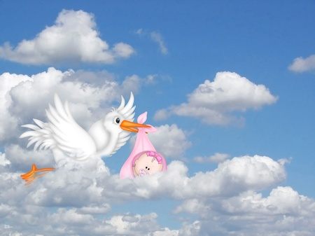 stork delivering a baby girl  Stock Photo
