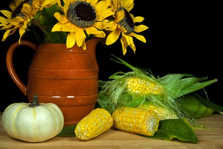 sunflower bouquet with corn on the cob photo