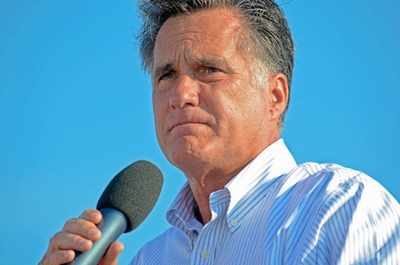 Holland, Michigan, USA - June 19, 2012 - Mitt Romney speaking at a campaign rally Stock Photo - 14881594