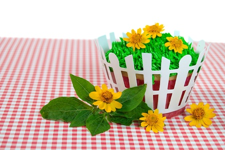 gingham: flowers in grass on cupcake