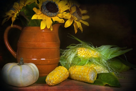 sunflowers with corn and pumpkin photo