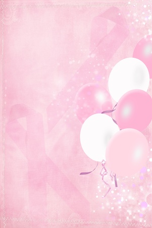 cancer ribbons: balloons with breast cancer awareness pink ribbons Stock Photo