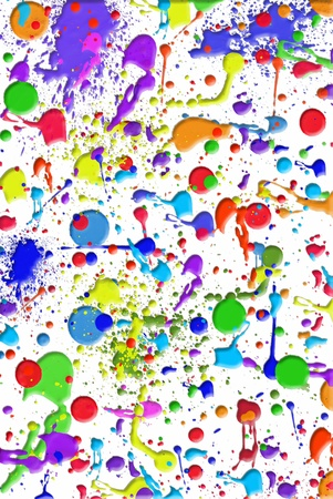 bright: colorful paint spatters on white
