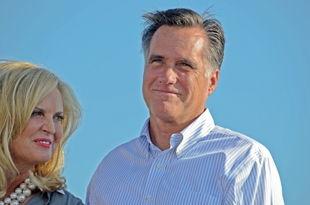 rally finger: Mitt and Ann Romney, June 19, 2012, Campaign rally in Holland