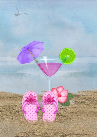 Flip-flops and cocktail in beach sand  Imagens